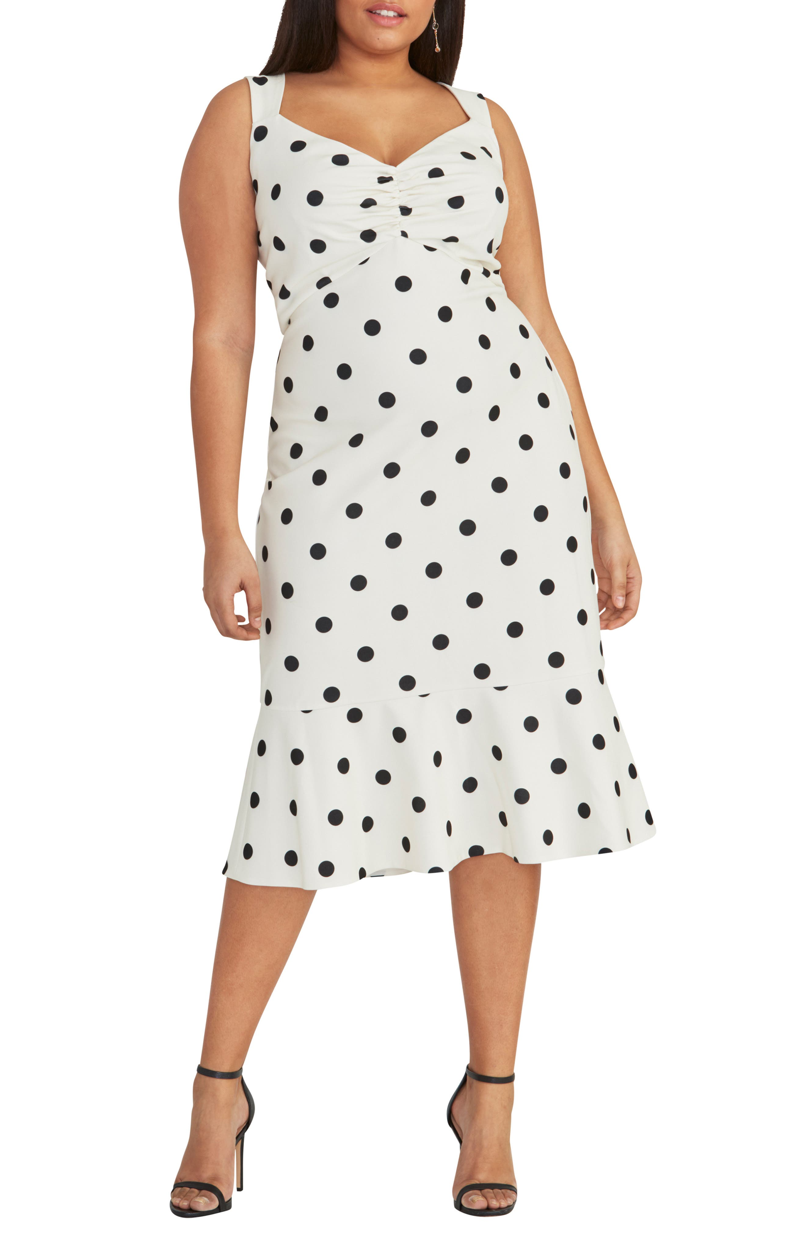 1950s Plus Size Dresses, Swing Dresses Plus Size Womens Rachel Rachel Roy Polka Dot Crepe Dress Size 14W - Ivory $96.75 AT vintagedancer.com