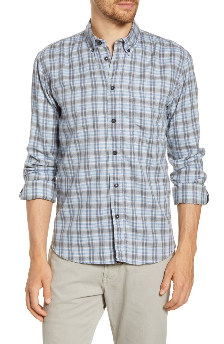 BILLY REID Taped Tuscumbia Standard Fit Plaid Cotton Button-Down Shirt, Main, color, BLUE/ GREY