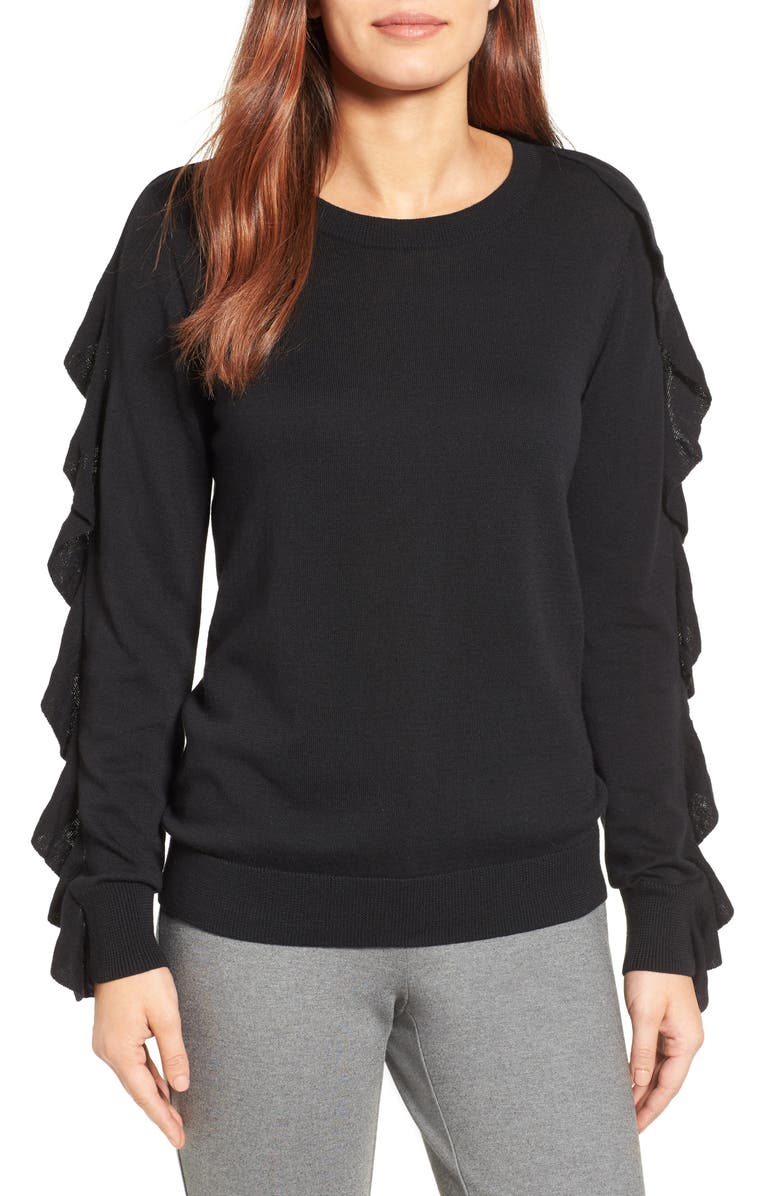 HALOGEN<SUP>®</SUP> Ruffle Sleeve Sweater, Main, color, 001