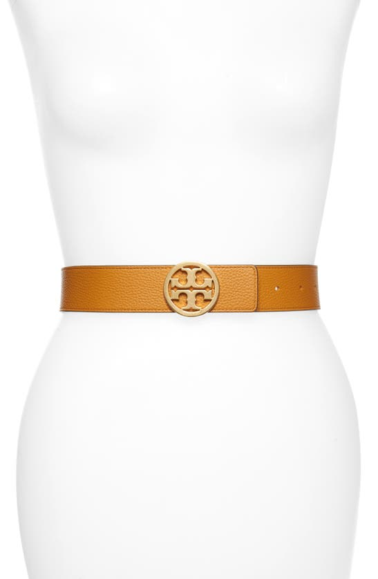 Tory Burch Women's Reversible Leather Logo Belt In Squash / Cloud Blue / Gold