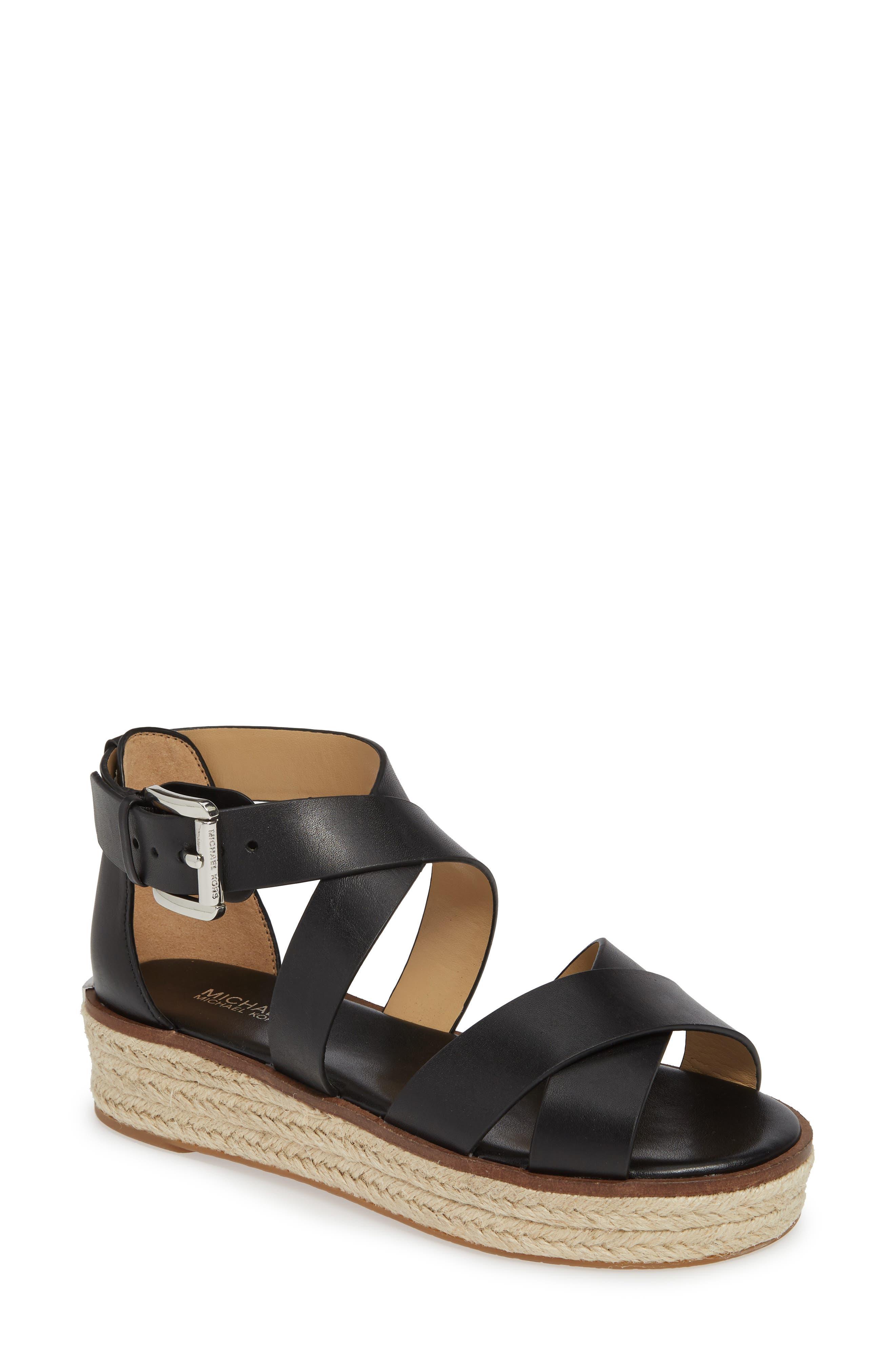 'Darby' Crisscross Espadrille Sandal, Main, color, BLACK VACHETTA LEATHER