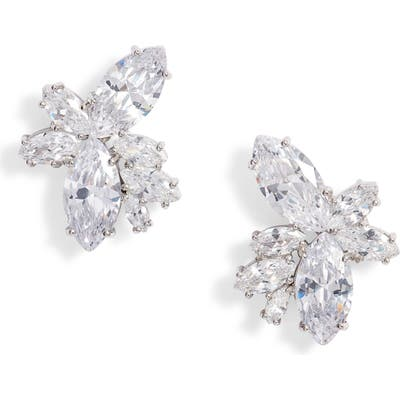 Nina Floral Stone Cluster Stud Earrings