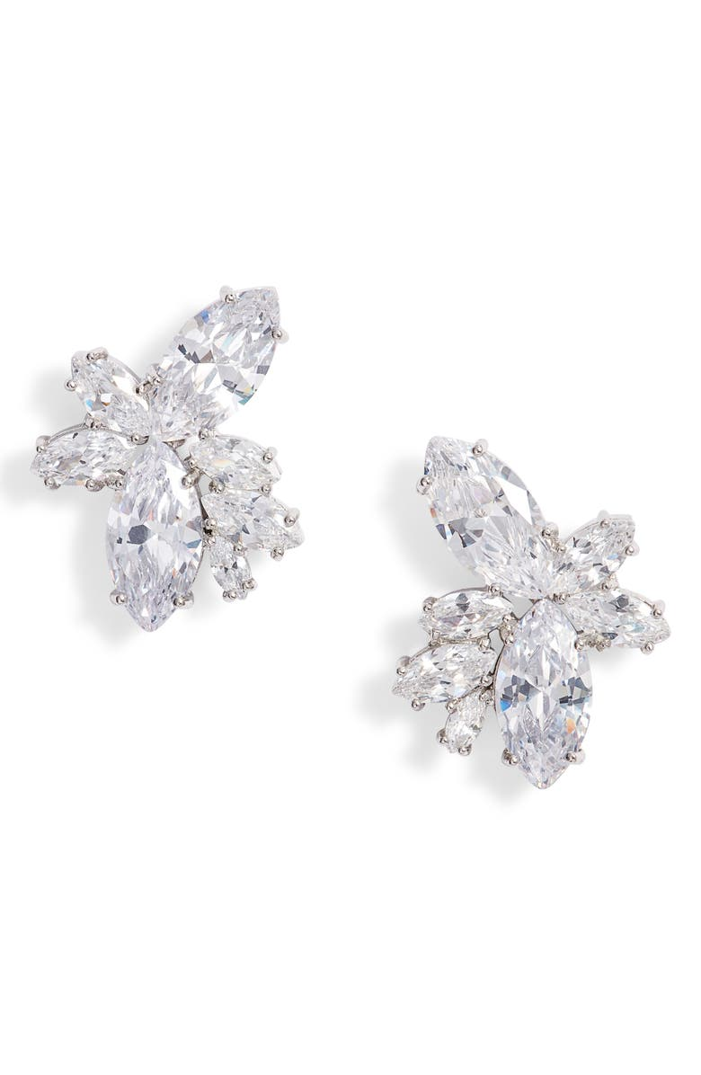 NINA Floral Stone Cluster Stud Earrings, Main, color, SILVER/ WHITE CZ