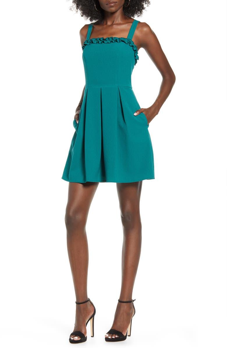 SPEECHLESS Ruffle Trim Sleeveless Minidress, Main, color, HUNTER GREEN