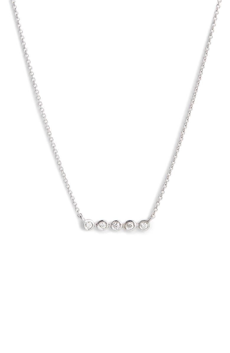 DANA REBECCA DESIGNS Lulu Jack Bezel Diamond Bar Necklace, Main, color, WHITE GOLD/ DIA