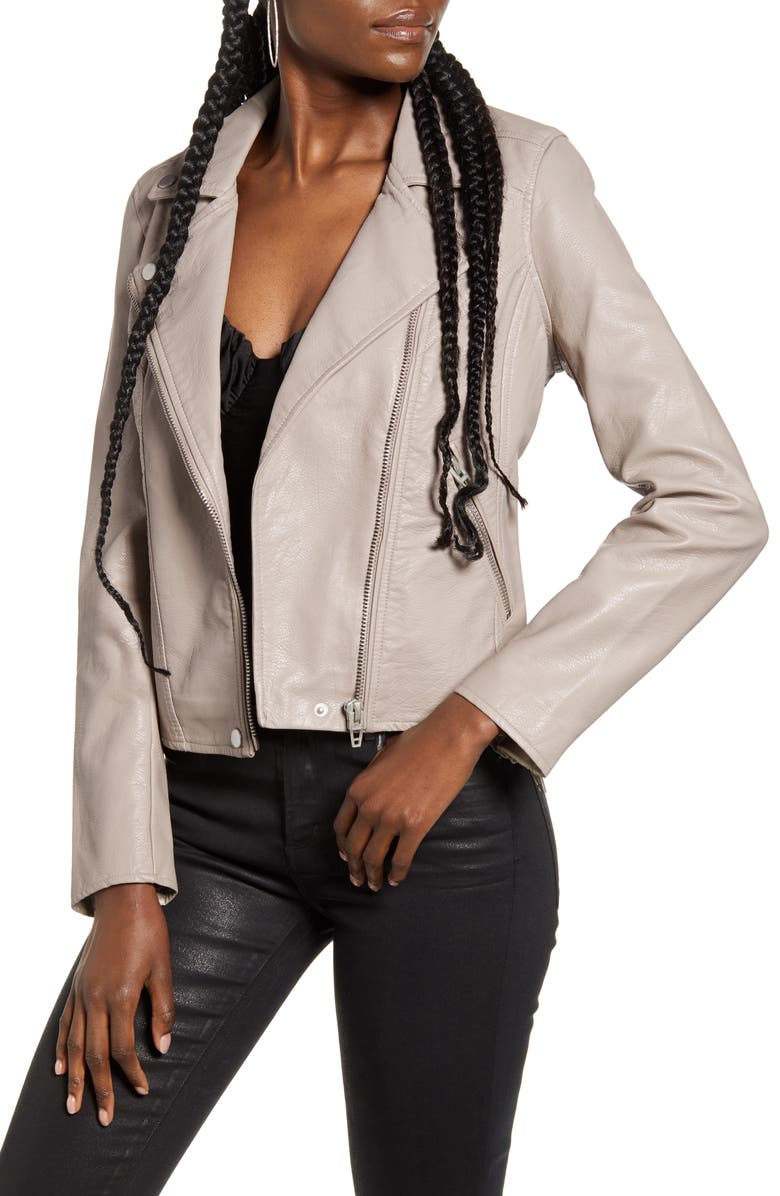 BLANKNYC Life Changer Moto Jacket, Main, color, FAWN W/ BRUSHED SILVER