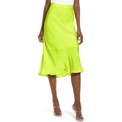 Leith Satin Midi Skirt, Yellow