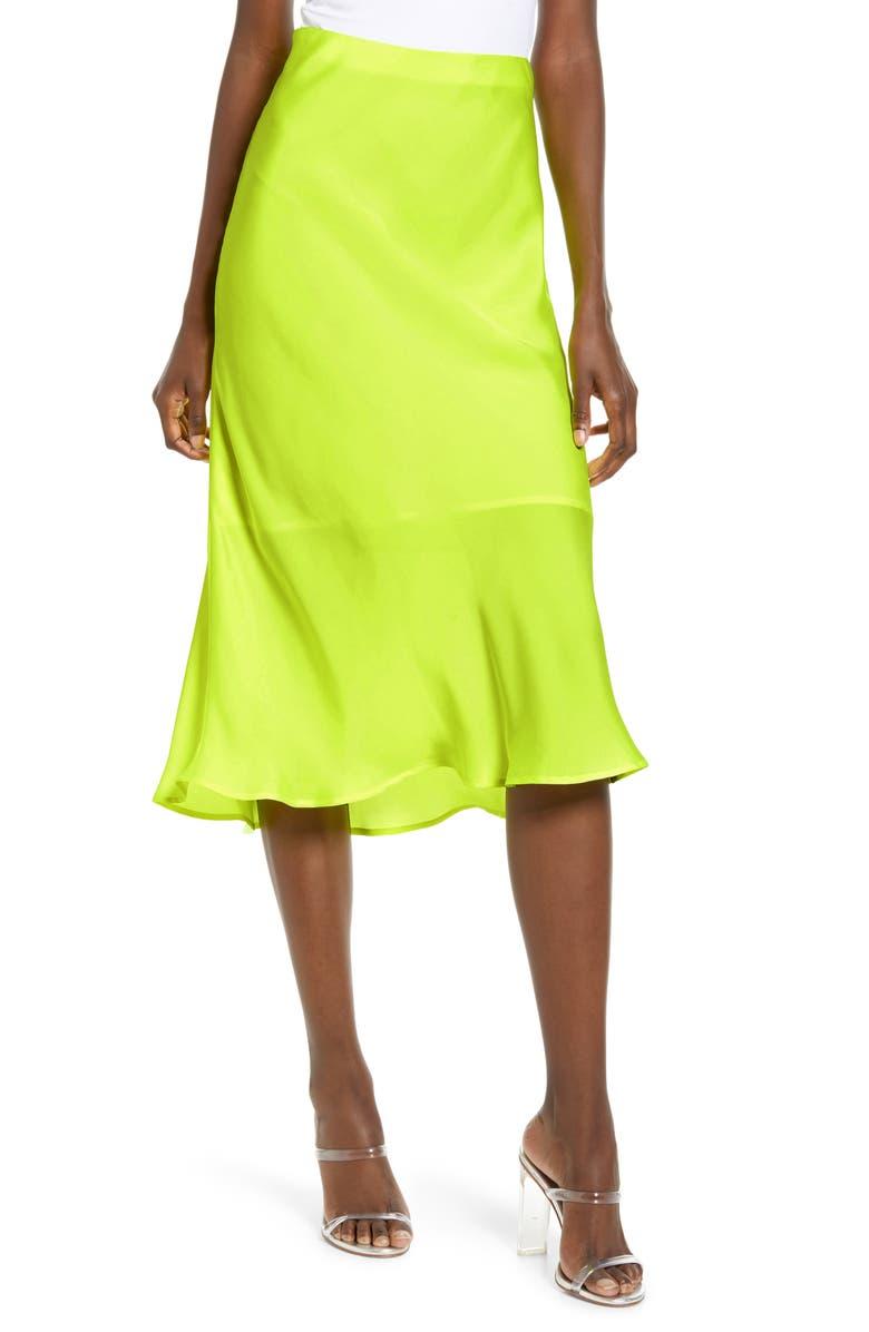 LEITH Satin Midi Skirt, Main, color, YELLOW ZONE