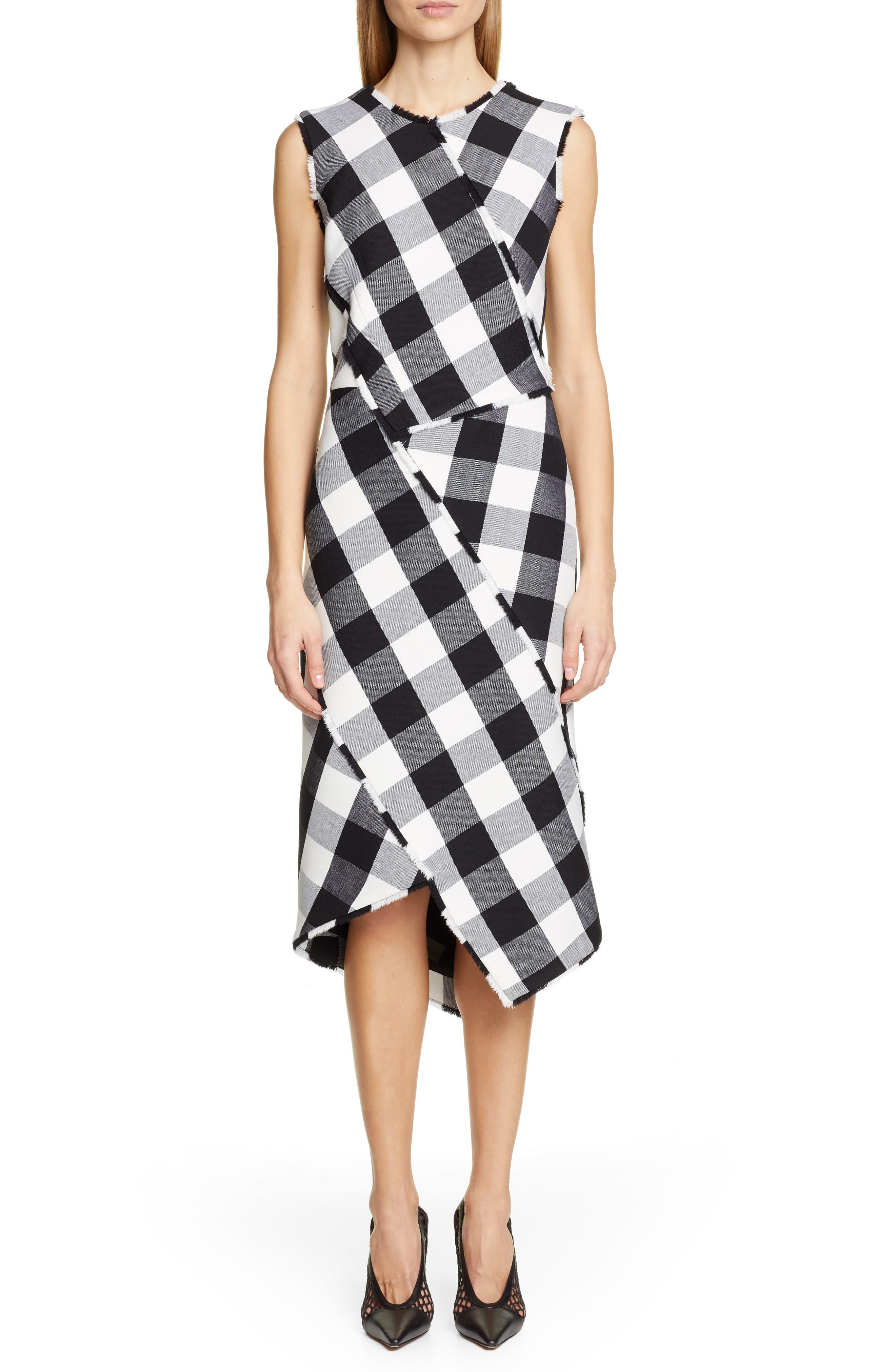 Altuzarra Paneled Gingham Stretch Wool Sheath Dress, 8 FR - Black
