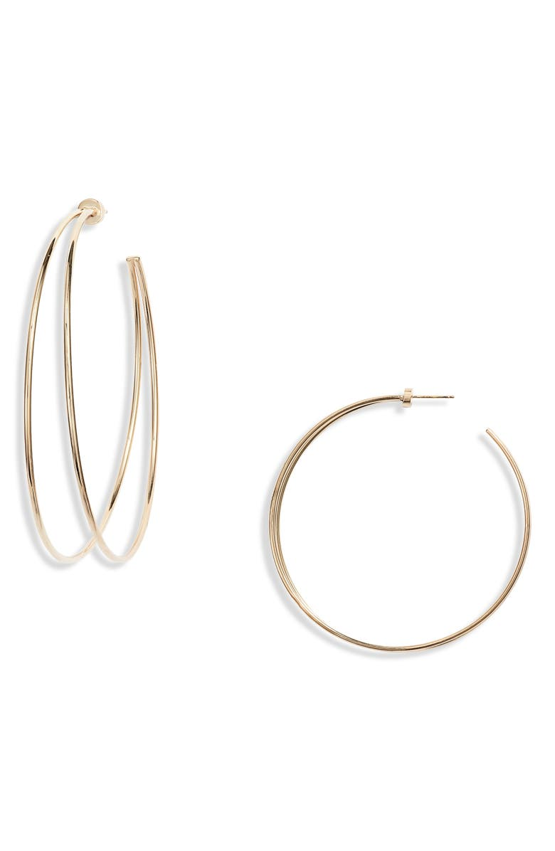 JENNIFER ZEUNER Simone Double Hoop Earrings, Main, color, YELLOW GOLD VERMEIL