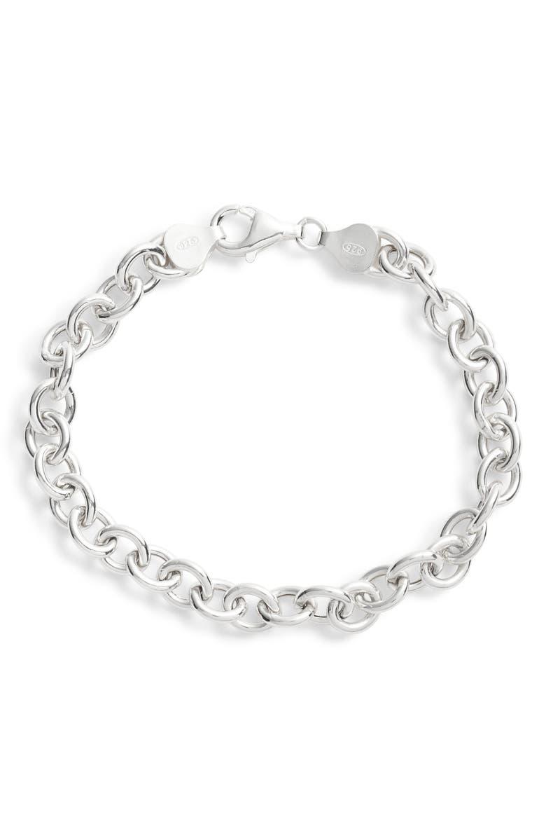 ARGENTO VIVO STERLING SILVER Argento Vivo Classic Chain Bracelet, Main, color, SILVER