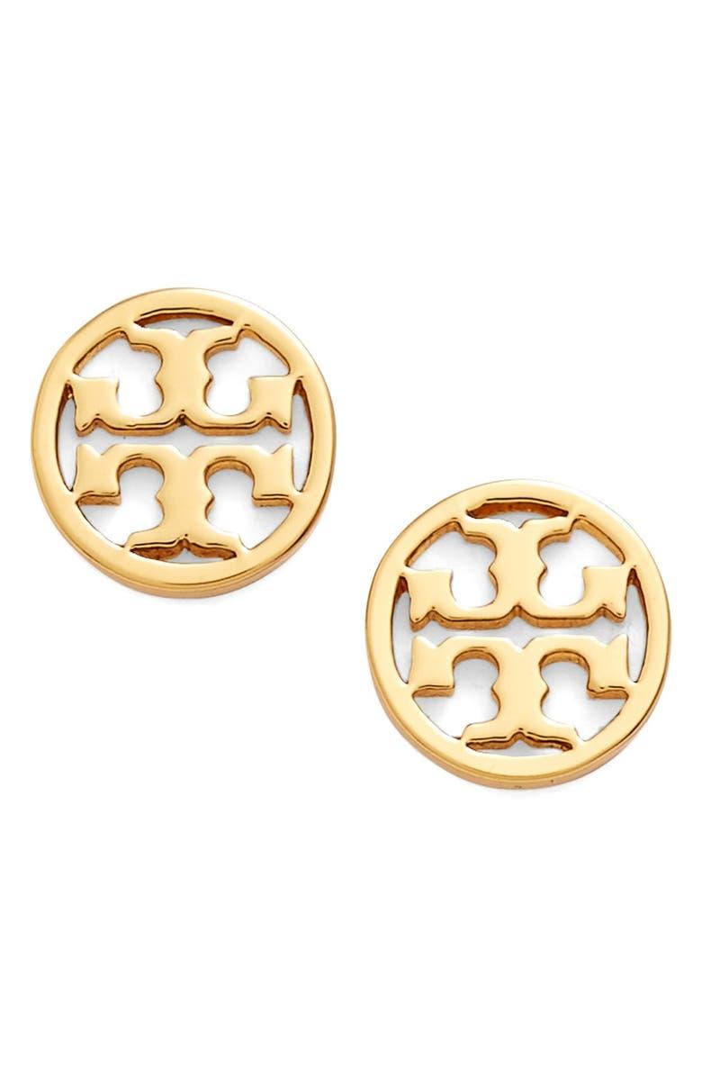 TORY BURCH Circle Logo Stud Earrings, Main, color, SHINY GOLD