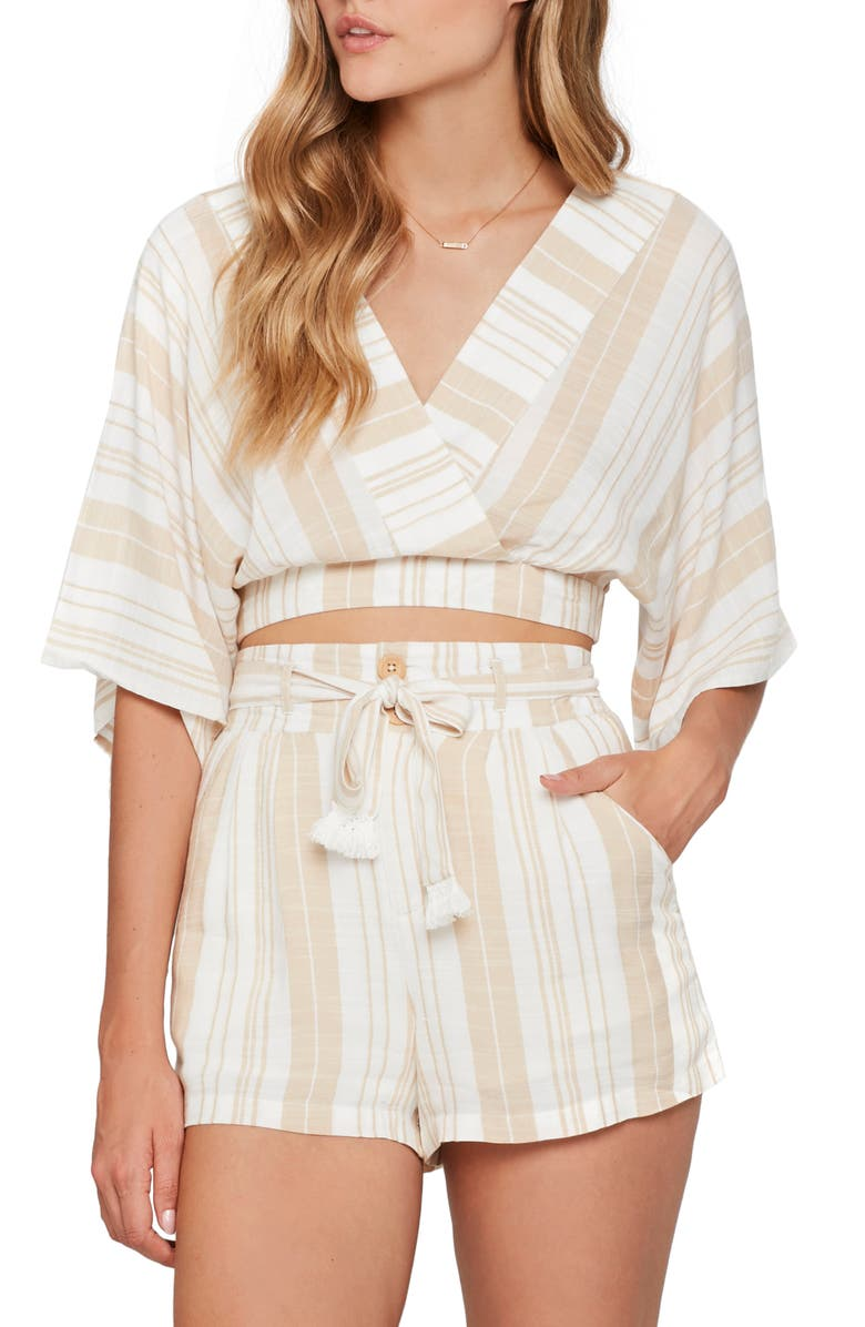 L SPACE Hannah Cover-Up Crop Top, Main, color, SUNSATIONAL STRIPE