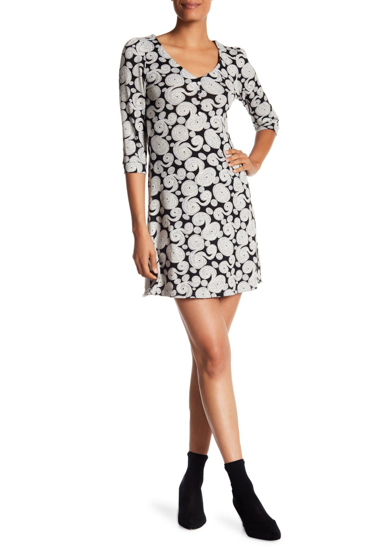 Image of Papillon Contrast Swirl Sweater Dress
