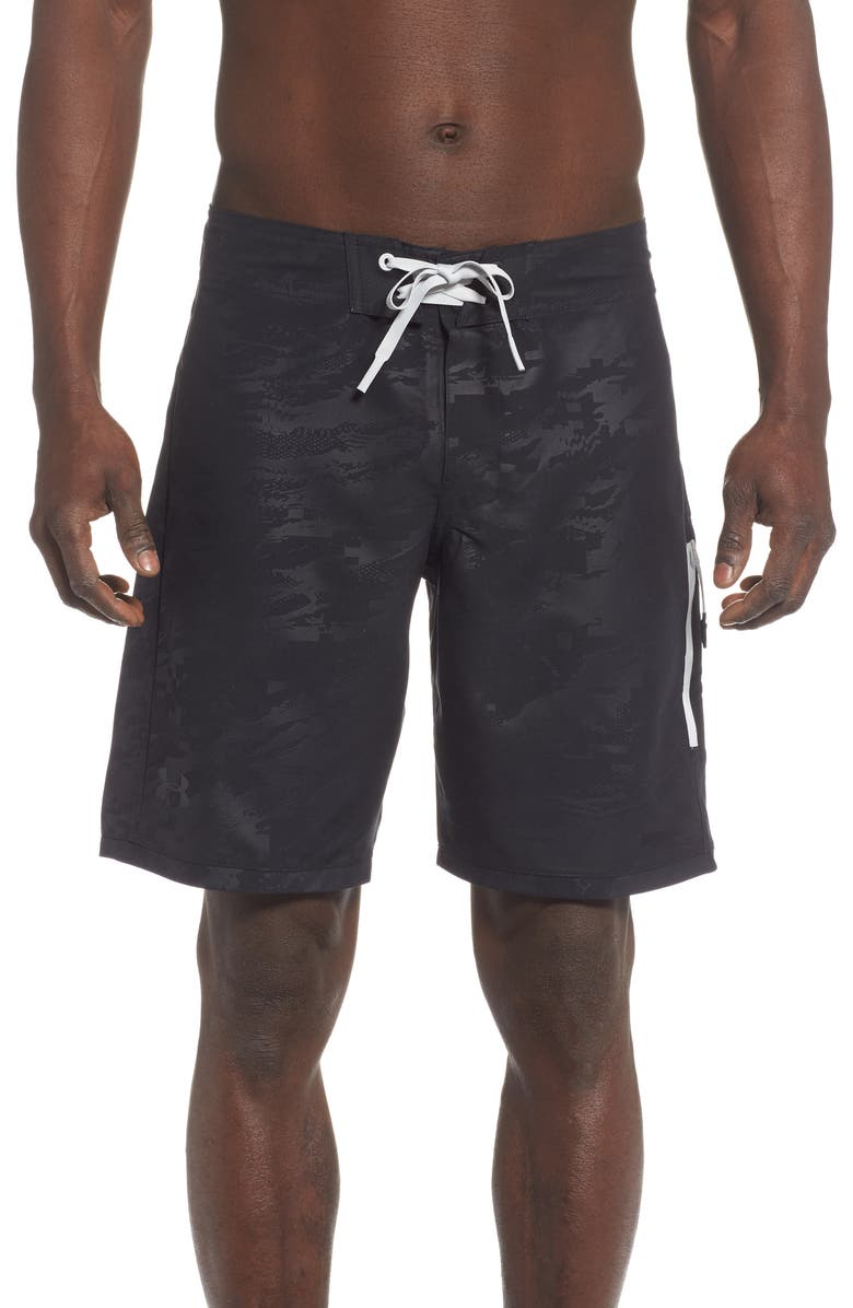UNDER ARMOUR Short Break Embossed Board Shorts, Main, color, 001