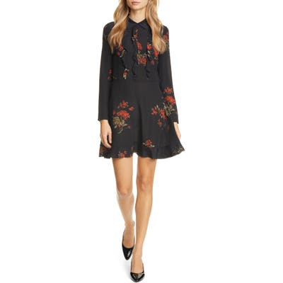 Red Valentino Ruffle Floral Print Long Sleeve Minidress, US / 42 IT - Black