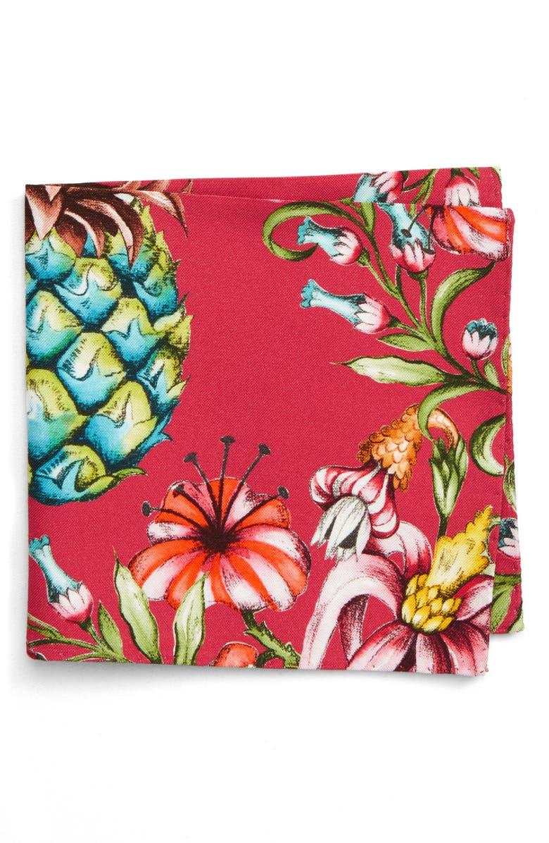 ETON Pineapple Bird Cotton & Silk Pocket Square, Main, color, 651