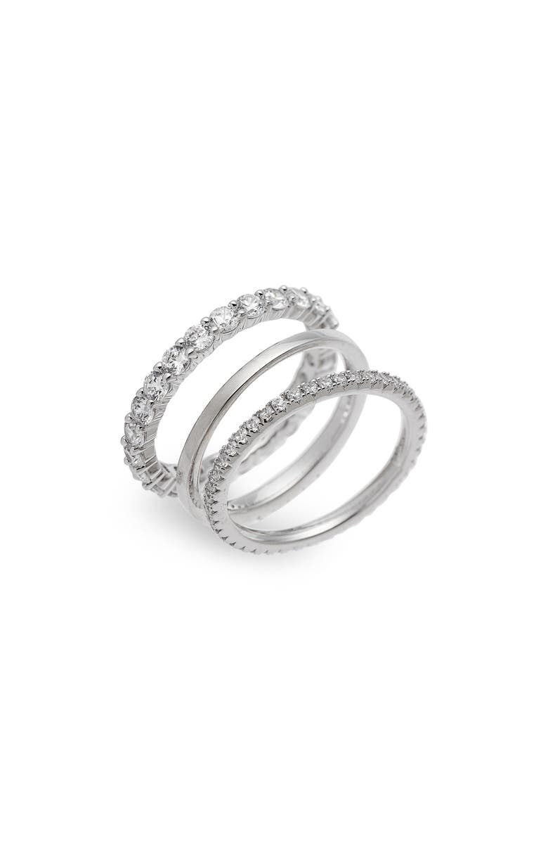 NORDSTROM Set of 3 Stacking Rings, Main, color, CLEAR- SILVER
