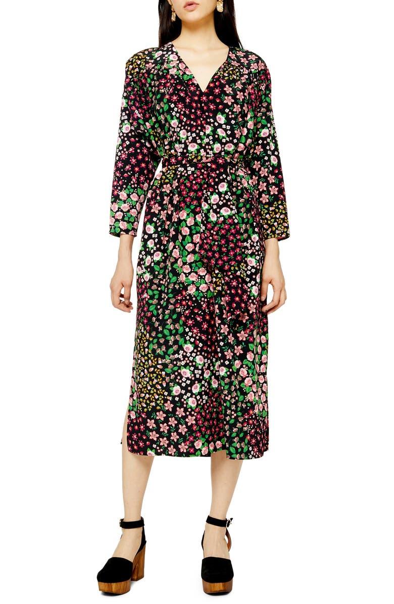 TOPSHOP Long Sleeve Belted Floral Midi Dress, Main, color, 001