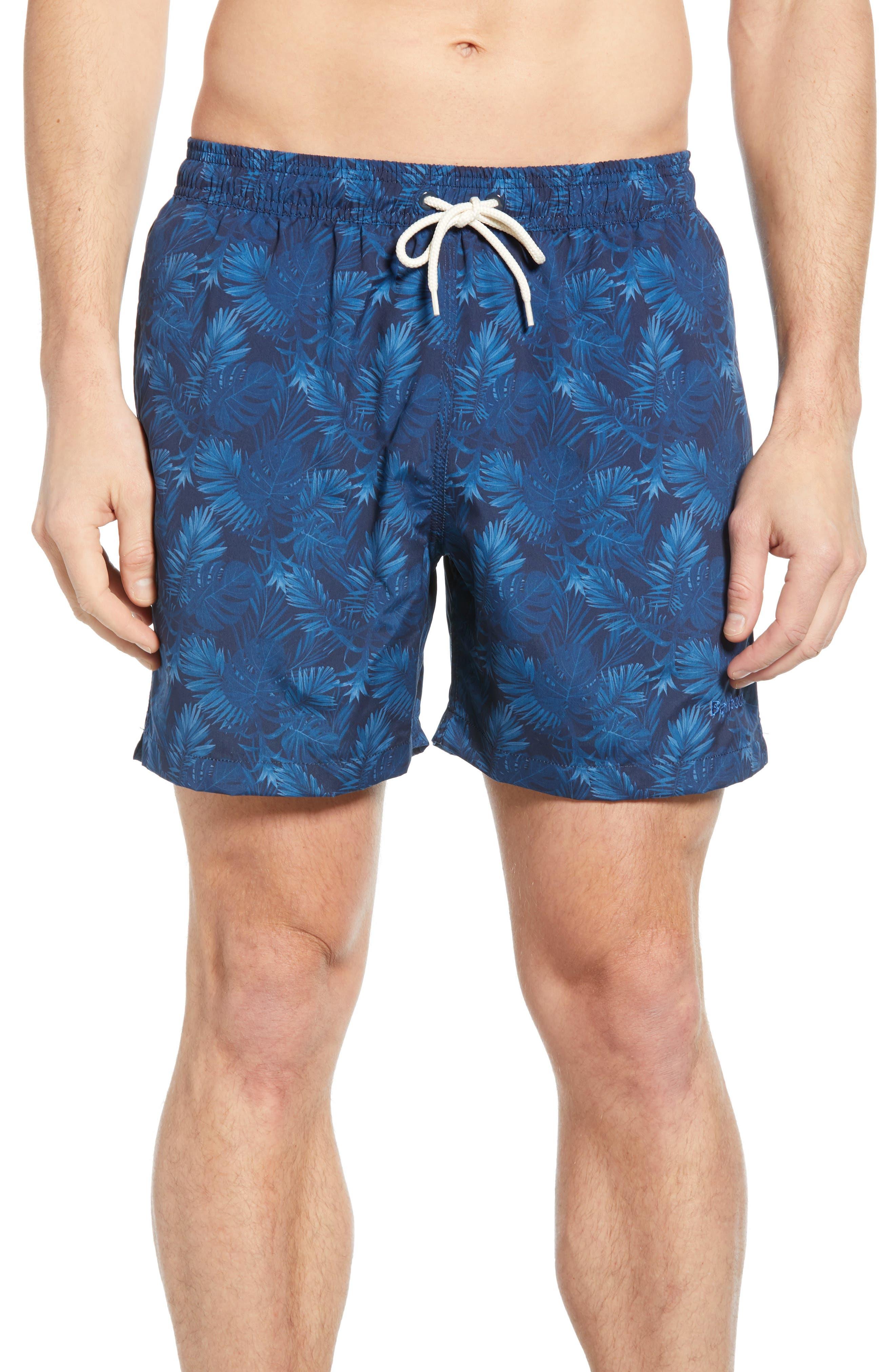 Barbour Tropical Print Swim Trunks, Blue