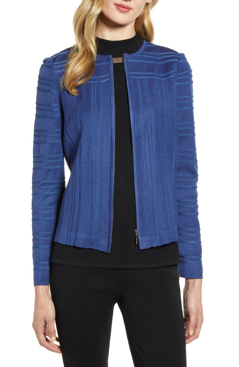 MING WANG Front Zip Pullover, Main, color, SPECTRUM BLUE