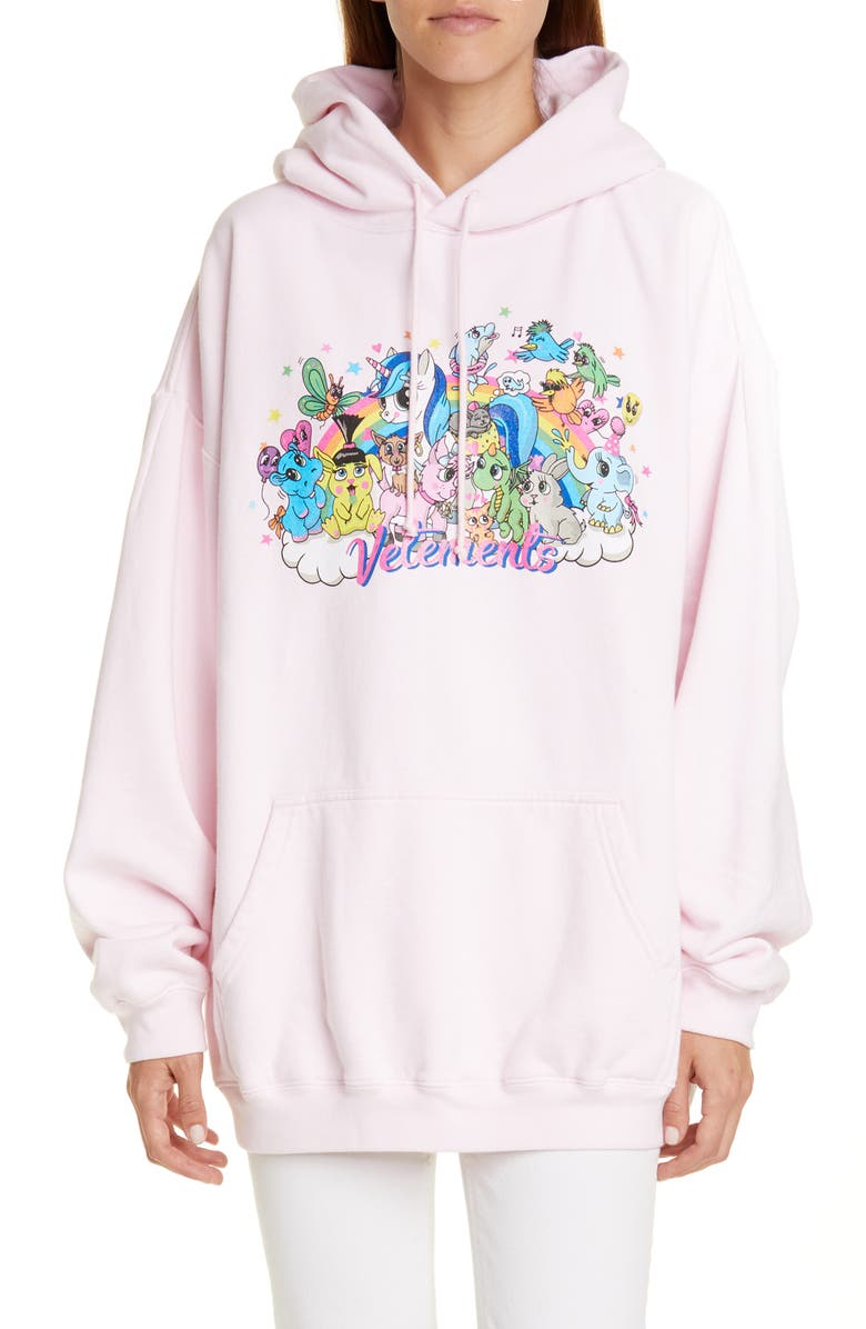 VETEMENTS Oversize Unicorn Print Cotton Hoodie, Main, color, LIGHT PINK