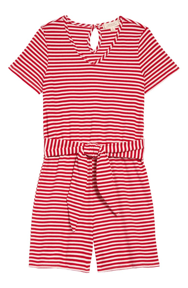 WALKING ON SUNSHINE Stripe Ribbed Tie Front Romper, Main, color, RED WHITE STRIPE