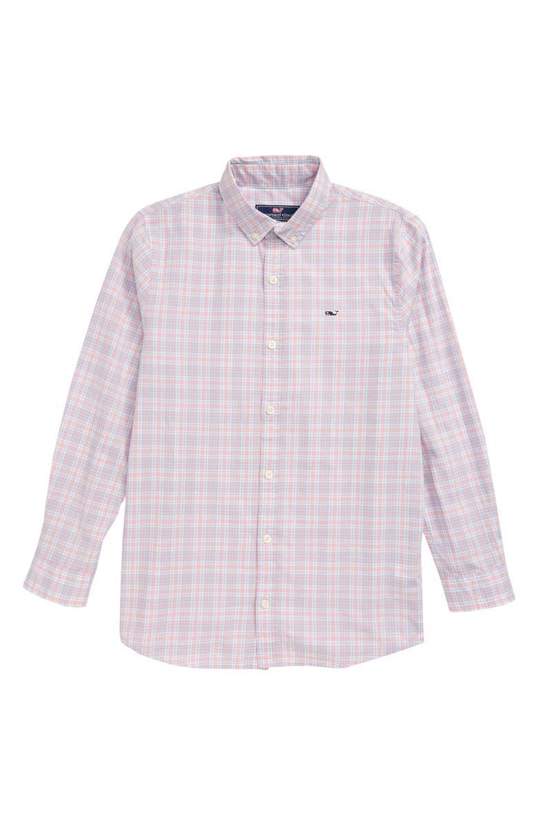 VINEYARD VINES Mini Tartan Poplin Whale Shirt, Main, color, HIBISCUS