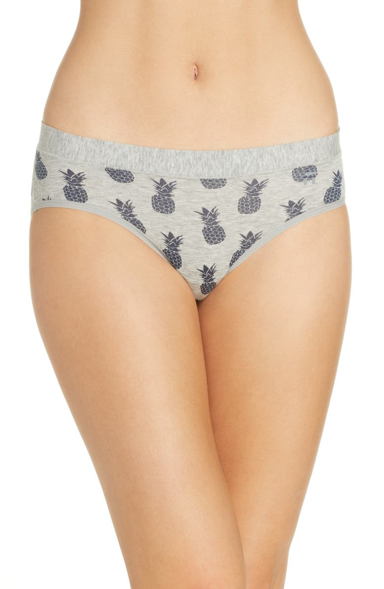 TOMMY JOHN Cool Cotton Print Briefs, Main, color, HEATHER GREY KISS