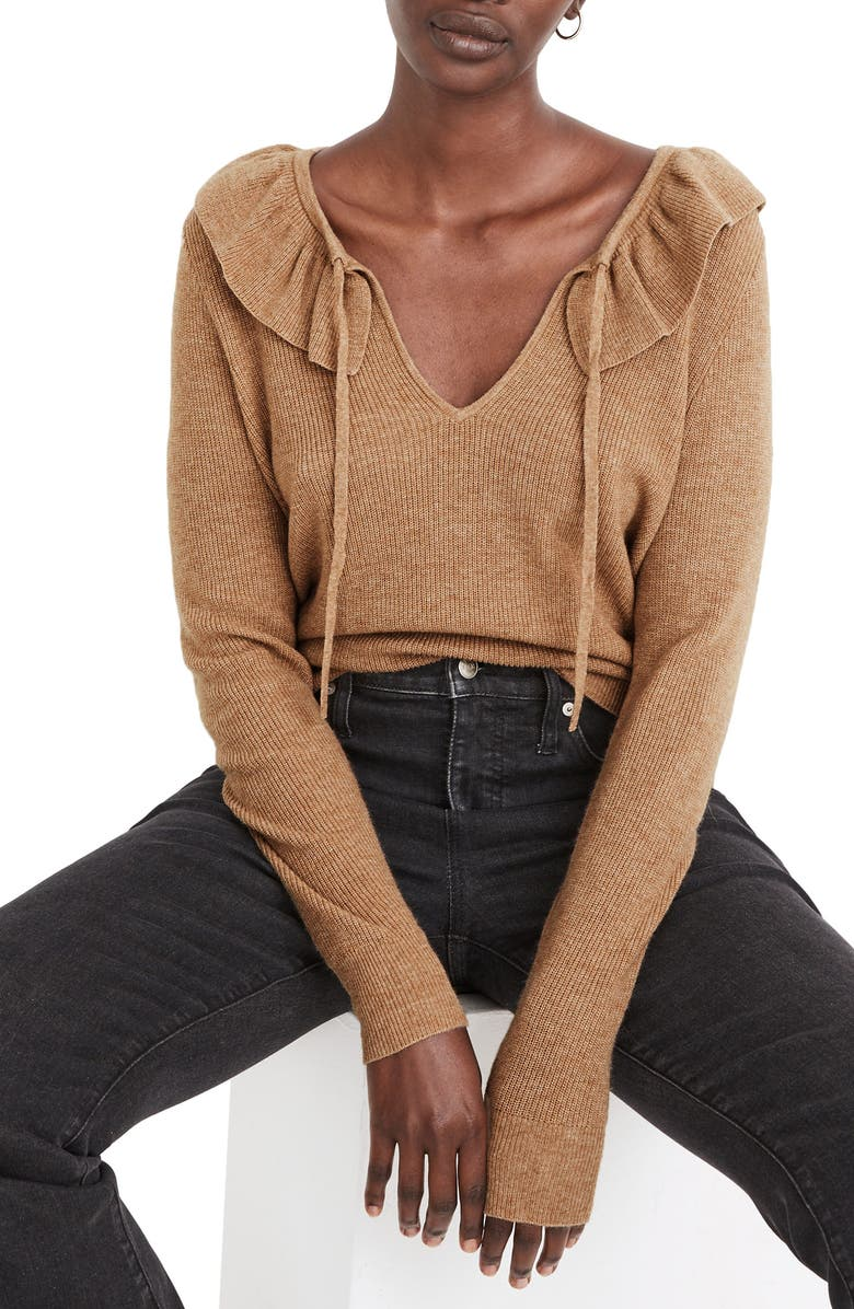 MADEWELL Tie Neck Ruffle Pullover Sweater, Main, color, HEATHER SANDALWOOD