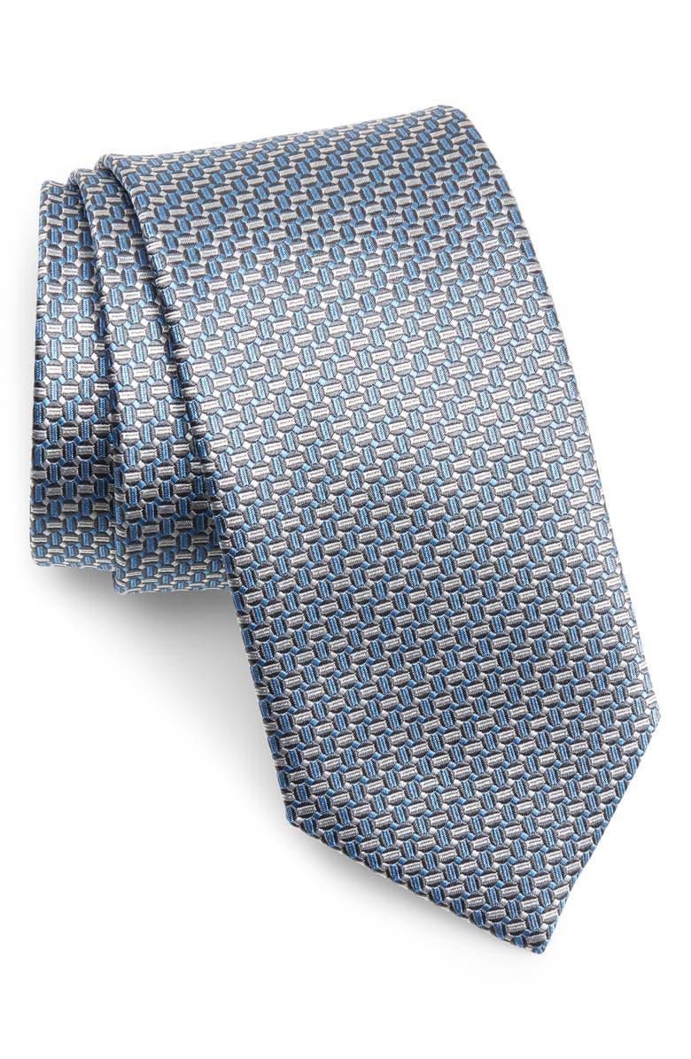 DAVID DONAHUE Geo Pattern Silk Tie, Main, color, 020
