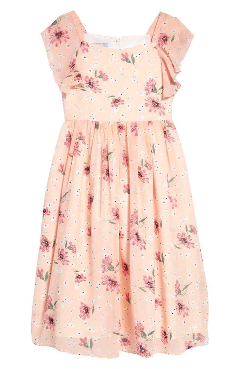 PIPPA & JULIE Floral Flutter Sleeve Dress, Main, color, PINK