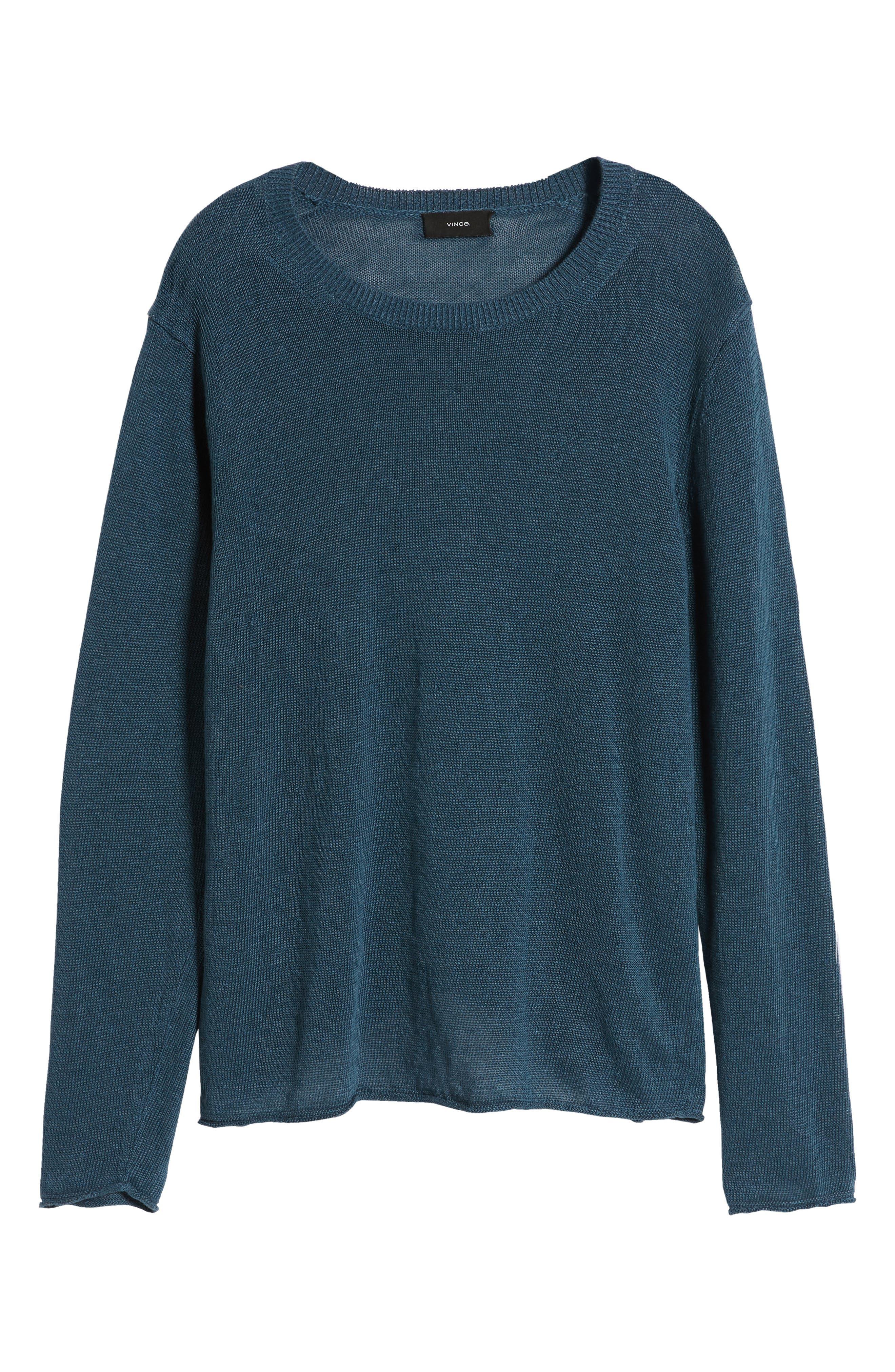 ,                             Crewneck Linen Sweater,                             Alternate thumbnail 6, color,                             MARIN