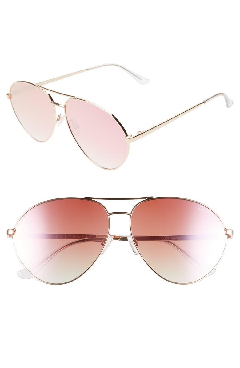 QUAY AUSTRALIA Just Sayin 59mm Aviator Sunglasses, Main, color, GOLD/ PINK