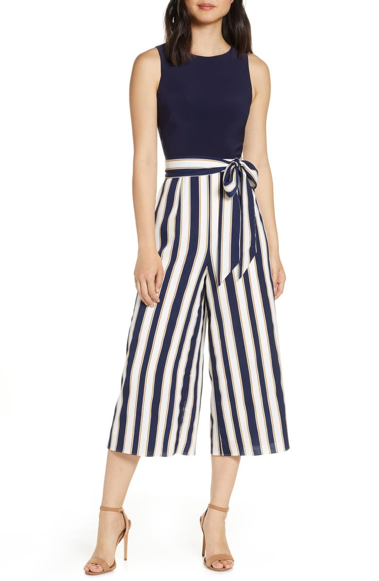 VINCE CAMUTO Stripe Wide Leg Crop Jumpsuit, Main, color, IVORY/ NAVY