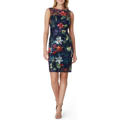 Petite Tahari Sleeveless Floral Embroidered Sheath Dress, Blue