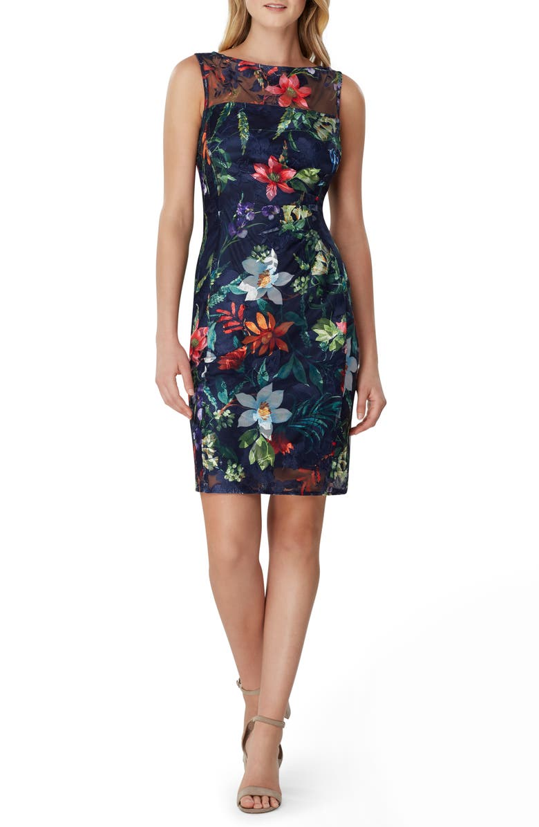 TAHARI Sleeveless Floral Embroidered Sheath Dress, Main, color, 460