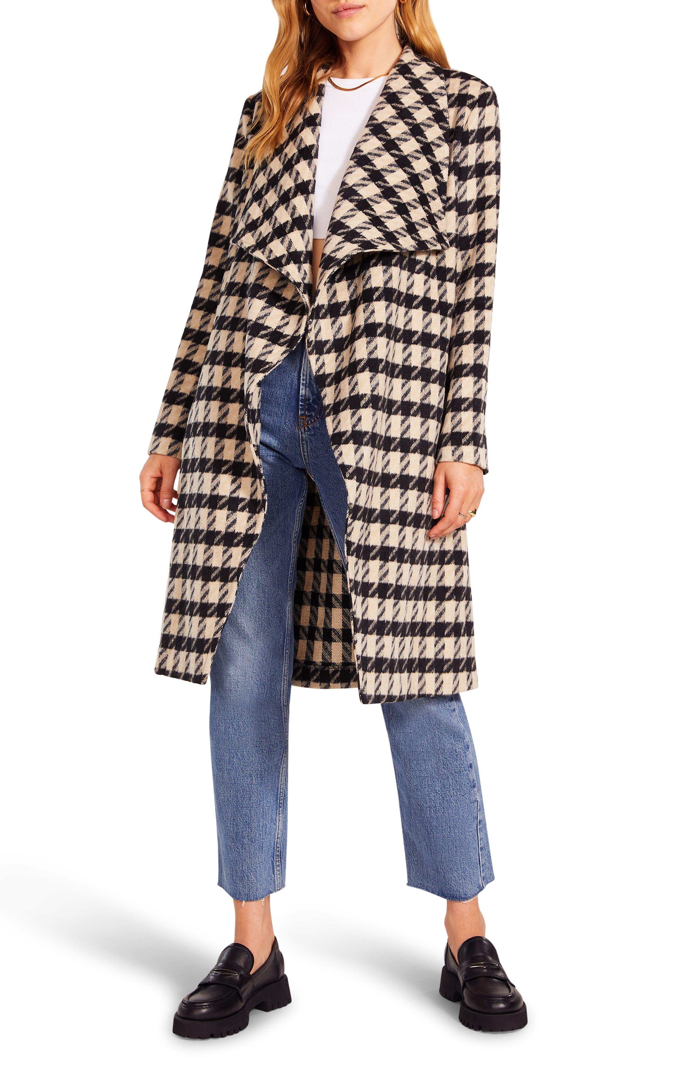 Women's Bb Dakota Houndstooth Drape Coat