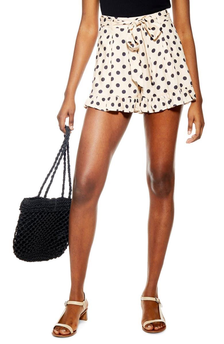 TOPSHOP Polka Dot Frill Hem Shorts, Main, color, BEIGE MULTI