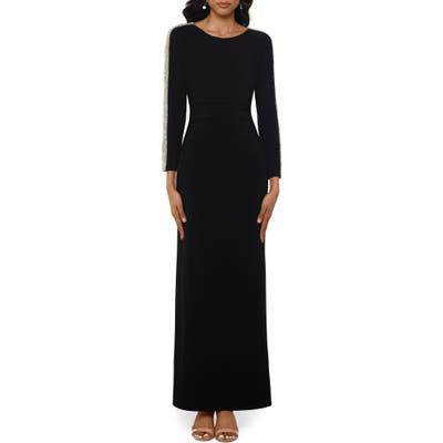 Xscape Caviar Bead Long Sleeve Evening Gown, Black