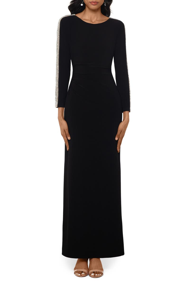 XSCAPE Caviar Bead Long Sleeve Evening Gown, Main, color, BLACK/ NUDE/ SILVER