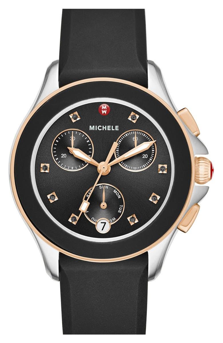 MICHELE Cape Chronograph Silicone Strap Watch, 34mm, Main, color, 001