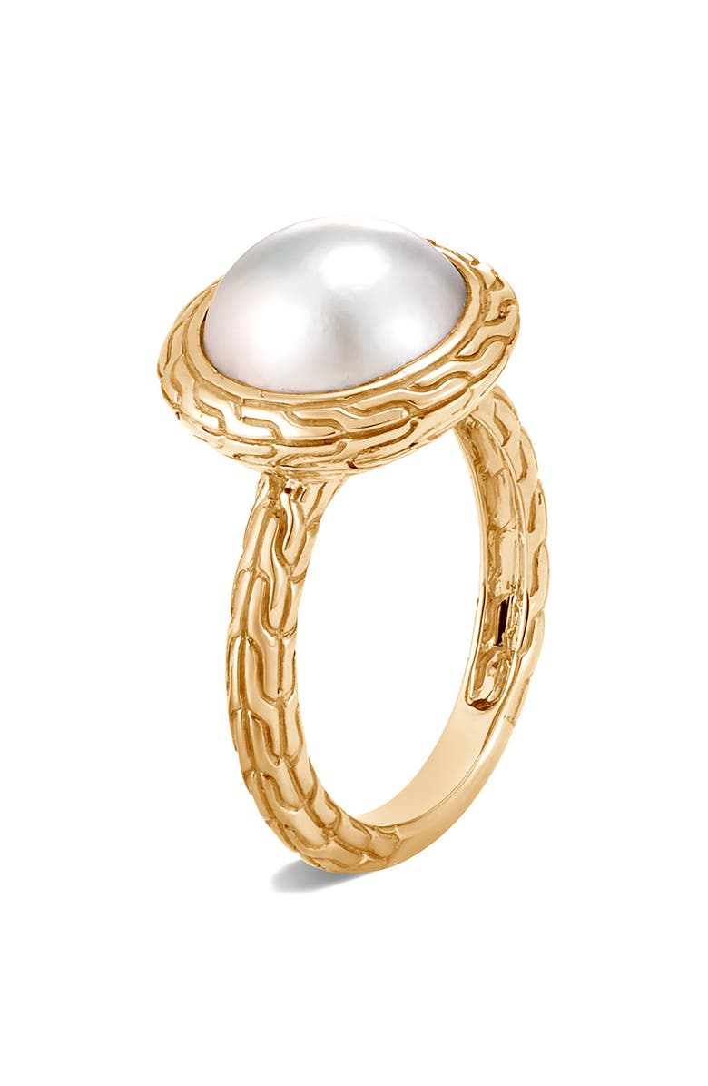 JOHN HARDY Classic Chain 18K Gold Mabé Pearl Ring, Main, color, GOLD/ PEARL