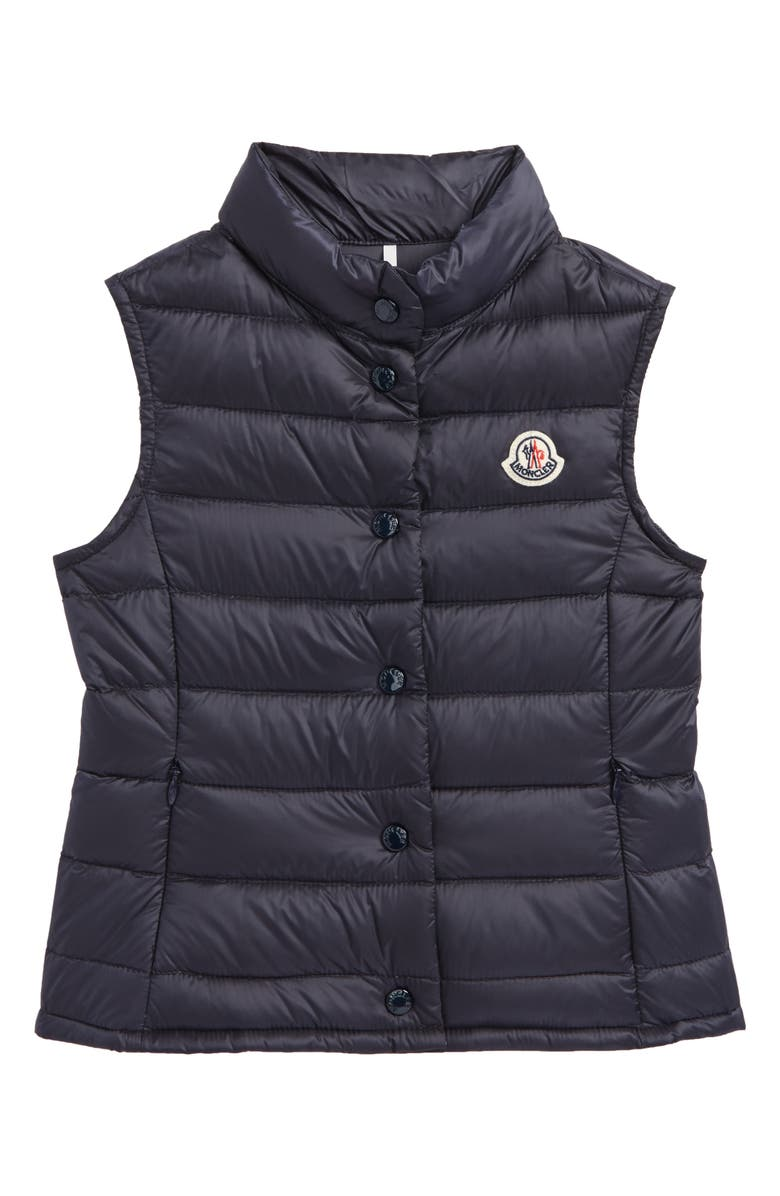 MONCLER Liane Quilted Down Water Resistant Vest, Main, color, NAVY