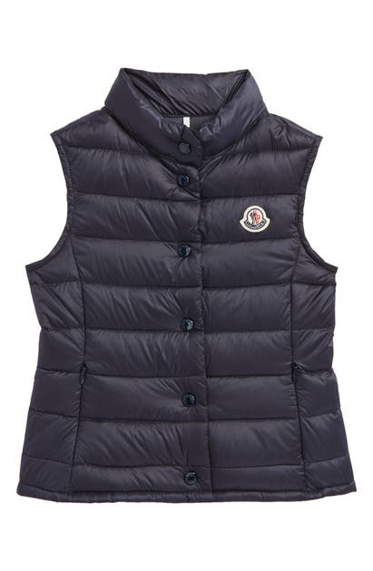 Moncler Kids' Liane Quilted Down Water Resistant Vest In Navy