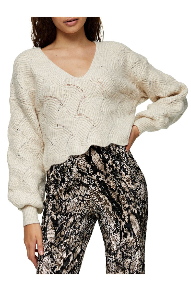 TOPSHOP All Over Pretty Stitch Crop Sweater, Main, color, NUDE