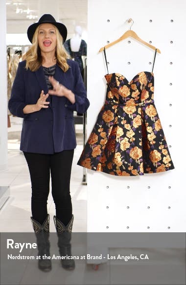 Strapless Metallic Jacquard Fit & Flare Dress, sales video thumbnail