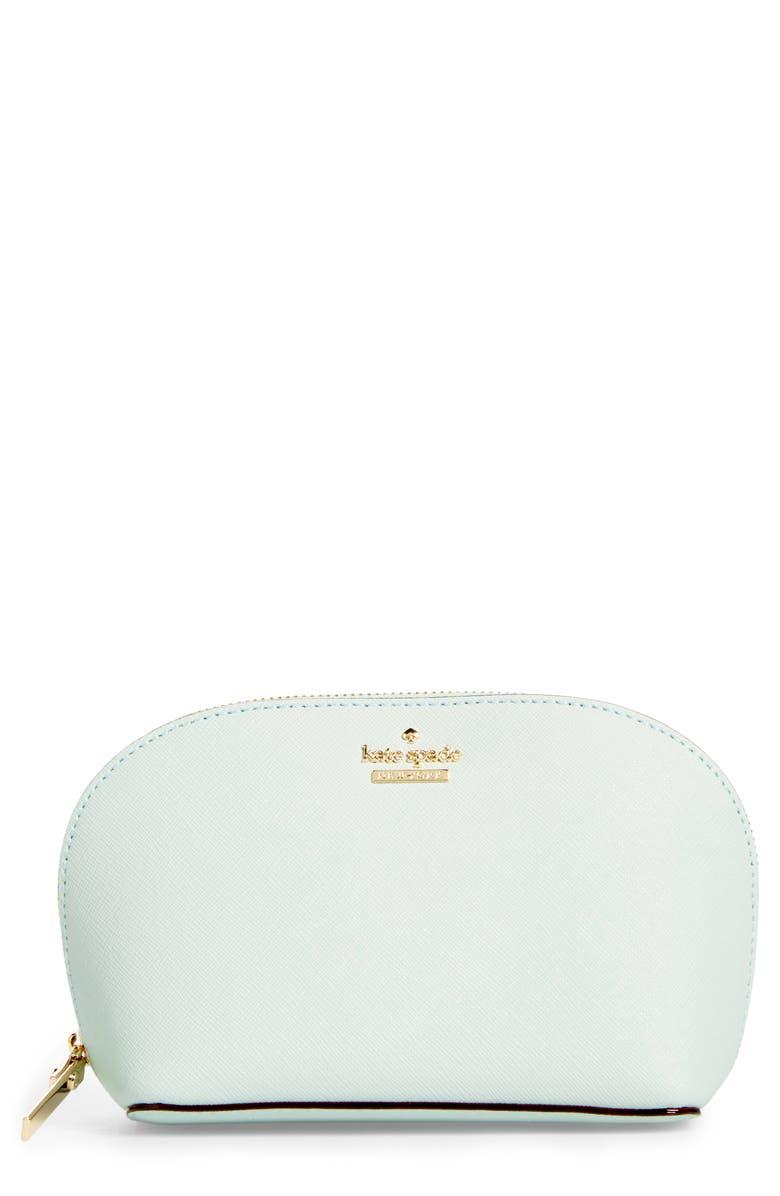 KATE SPADE NEW YORK cameron street - small abalene leather cosmetics bag, Main, color, 302