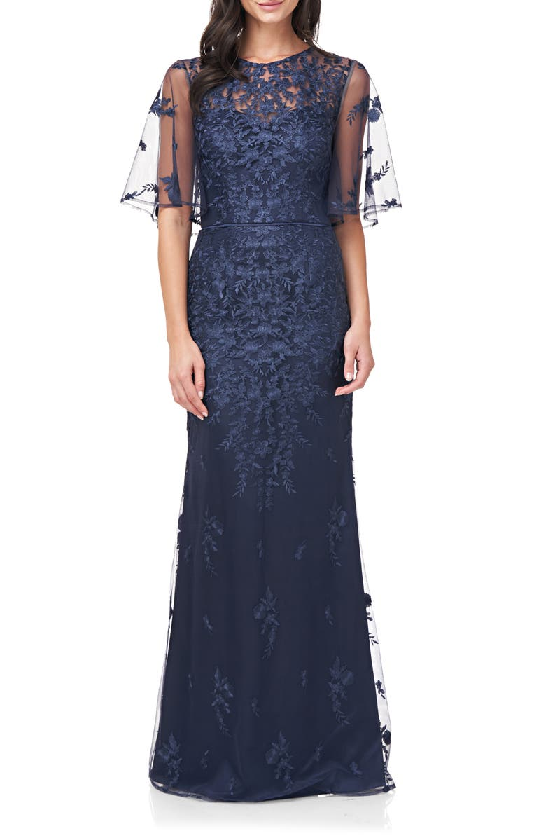 JS COLLECTIONS Floral Embroidered Evening Gown, Main, color, NAVY