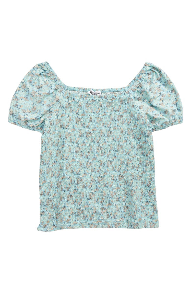 TEN SIXTY SHERMAN Smocked Ditsy Floral Top, Main, color, MINT FLORAL